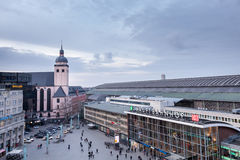 COLOGNE, GERMANY - MARCH 5, 2015: main railway station in Cologne. On an average day, about 280,000 travelers frequent the station. COLOGNE, GERMANY - MARCH 5 Royalty Free Stock Image