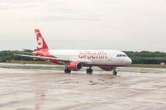 COLOGNE, GERMANY - MAY 12, 2014: Air Berlin Airbus A320 at Colog Stock Image