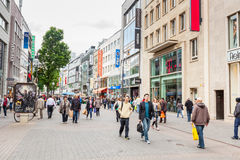COLOGNE, GERMANY - MAY 07, 2014: Crowded shopping street in Colo Stock Photography