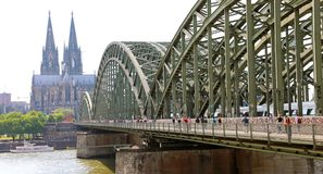 COLOGNE, GERMANY - MAY 31, 2018: people enjoy to walk along the royalty free stock photo