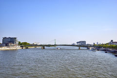 Cologne/Germany - May 10, 2017: View south from Hohenzollern Bridge towards Kranhaeuse. Kranhauser are modern dwellings fashioned after container cranes on stock image