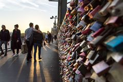 COLOGNE, GERMANY- OCTOBER 06, 2018: Tourists on the Hohenzollern Bridge. royalty free stock photo