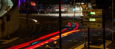COLOGNE, GERMANY - OCTOBER 6, 2018: tracers from car headlights, Cologne city center. stock photos