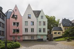 COLOGNE, GERMANY - SEPTEMBER  11, 2016: Colorful houses in Bavarian style in the old town of Cologne, North Rhine-Westphalia Royalty Free Stock Photography