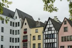 COLOGNE, GERMANY - SEPTEMBER  11, 2016: Colorful houses in Bavarian style in the old town of Cologne, North Rhine-Westphalia Royalty Free Stock Image