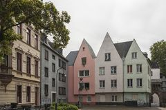 COLOGNE, GERMANY - SEPTEMBER  11, 2016: Colorful houses in Bavarian style in the old town of Cologne, North Rhine-Westphalia Stock Image