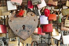 Hohenzollern railway Bridge in Cologne or famous Cologne`s Love Locks Bridge with thousands padlocks left by lovers. Stock Photos
