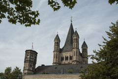 COLOGNE, GERMANY - SEPTEMBER 11, 2016: The Romanesque Catholic church `Gross Sankt Martin` Great St. Martin in the old town of Col Royalty Free Stock Photo
