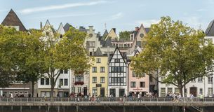 Unidentified people and details of the old and beautiful town of Cologne, one of the most popular destinations in the North Rhine stock photography