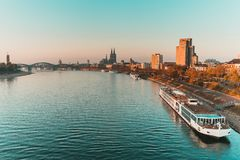 Cologne, Germany - View on Rhine RIver, Cologne Dome royalty free stock images