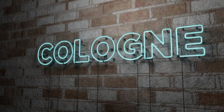 COLOGNE - Glowing Neon Sign on stonework wall - 3D rendered royalty free stock illustration Royalty Free Stock Image