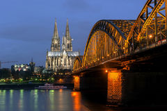Cologne Gothic Cathedral. At night royalty free stock photo