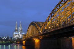 Cologne Gothic Cathedral. At night royalty free stock image