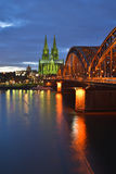 Cologne green. Vertical Panorama of beautiful City of Cologne (Koeln) in Germany with Rhine River and Hohenzollern Bridge during the evening Stock Photography