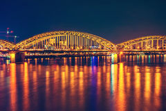 Cologne Hohenzollern bridge night scene Stock Images