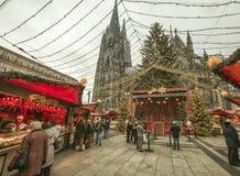 Cologne - julmarknad Arkivfoton
