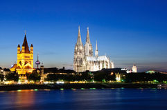 Cologne/Köln in the twilight, Germany Stock Photos