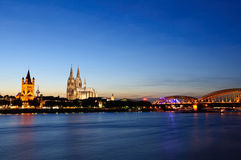 Cologne/Köln in the twilight, Germany Royalty Free Stock Photography