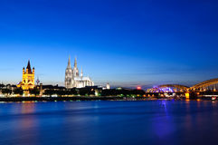 Cologne/Köln in the twilight, Germany Royalty Free Stock Photos