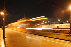 The Cologne main station. A train starts, long exposure Stock Photography