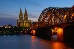 Cologne by night. Evening view of Cologne Cathedral from the river Stock Photo