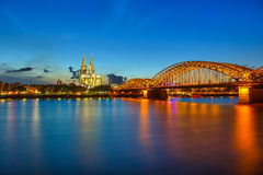 Cologne at night Royalty Free Stock Image