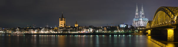 Cologne at night. Night panoram of Cologne and river Rhne Stock Photo