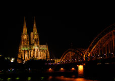 Cologne by night Royalty Free Stock Photography