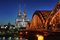 Cologne in the night Royalty Free Stock Images