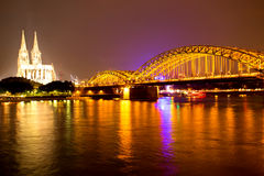 Cologne at night Royalty Free Stock Photography
