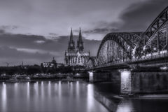Cologne at night. With a long exposure Royalty Free Stock Photos