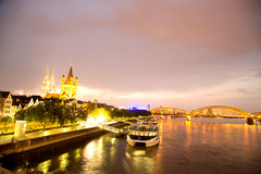 Cologne at night Royalty Free Stock Photos