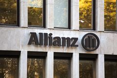 Cologne, North Rhine-Westphalia/germany - 17 10 18: allianz sign in cologne germany. Cologne, North Rhine-Westphalia/germany - 17 10 18: an allianz sign in stock photos