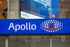 Cologne, North Rhine-Westphalia/germany - 17 10 18: apollo optik sign on an building in cologne germany. Cologne, North Rhine-Westphalia/germany - 17 10 18: an royalty free stock photos