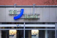 Cologne, North Rhine-Westphalia/germany - 24 10 18: BB Bank sign in cologne germany. Cologne, North Rhine-Westphalia/germany - 24 10 18: an BB Bank sign in stock photography