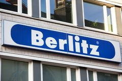 Cologne, North Rhine-Westphalia/germany - 17 10 18: berlitz sign on an building in cologne germany. Cologne, North Rhine-Westphalia/germany - 17 10 18: a berlitz royalty free stock photography