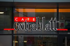 Cologne, North Rhine-Westphalia/germany - 17 10 18: cafe extrablatt sign on an building in cologne germany. Cologne, North Rhine-Westphalia/germany - 17 10 18: a royalty free stock photography