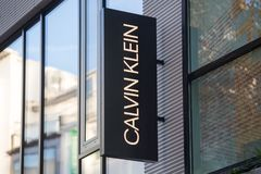 Cologne, North Rhine-Westphalia/germany - 17 10 18: calvin klein sign on an building in cologne germany. Cologne, North Rhine-Westphalia/germany - 17 10 18: a royalty free stock image