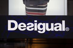 Cologne, North Rhine-Westphalia/germany - 17 10 18: desigual sign in cologne germany in the evening. Cologne, North Rhine-Westphalia/germany - 17 10 18: an royalty free stock photo