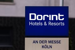 Cologne, North Rhine-Westphalia/germany - 26 11 18: dorint hotels sign on the dorint headquarter in cologne germany. Cologne, North Rhine-Westphalia/germany - 26 royalty free stock photography