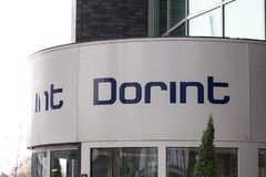 Cologne, North Rhine-Westphalia/germany - 26 11 18: dorint hotels sign on the dorint headquarter in cologne germany. Cologne, North Rhine-Westphalia/germany - 26 royalty free stock photo