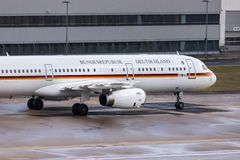 German government airplane at cologne bonn airport germany. Cologne, North Rhine-Westphalia/germany - 08 03 19: german government airplane at cologne bonn stock images