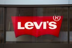 Cologne, North Rhine-Westphalia/germany - 17 10 18: levis sign in cologne germany. Cologne, North Rhine-Westphalia/germany - 17 10 18: an levis sign in cologne stock photo