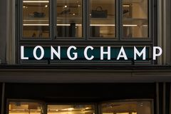 Cologne, North Rhine-Westphalia/germany - 17 10 18: longchamp sign in cologne germany. Cologne, North Rhine-Westphalia/germany - 17 10 18: a longchamp sign in royalty free stock photos