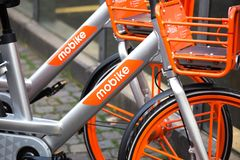 Cologne, North Rhine-Westphalia/germany - 17 10 18: mobike rent bicycle sign in cologne germany. Cologne, North Rhine-Westphalia/germany - 17 10 18: an mobike royalty free stock image