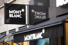 Cologne, North Rhine-Westphalia/germany - 17 10 18: mont blanc sign in cologne germany. Cologne, North Rhine-Westphalia/germany - 17 10 18: an mont blanc sign in stock image