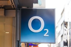 Cologne, North Rhine-Westphalia/germany - 17 10 18: O2 sign in cologne germany. Cologne, North Rhine-Westphalia/germany - 17 10 18: an O2 sign in cologne germany royalty free stock photo
