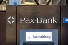 Cologne, North Rhine-Westphalia/germany - 17 10 18: PAX bank sign in cologne germany. Cologne, North Rhine-Westphalia/germany - 17 10 18: an PAX bank sign in royalty free stock image