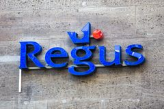 Cologne, North Rhine-Westphalia/germany - 17 10 18: regus sign in cologne germany. Cologne, North Rhine-Westphalia/germany - 17 10 18: an regus sign in cologne royalty free stock images