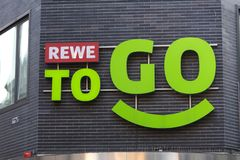 Cologne, North Rhine-Westphalia/germany - 17 10 18: rewe to go sign in cologne germany. Cologne, North Rhine-Westphalia/germany - 17 10 18: an rewe to go sign in stock photography